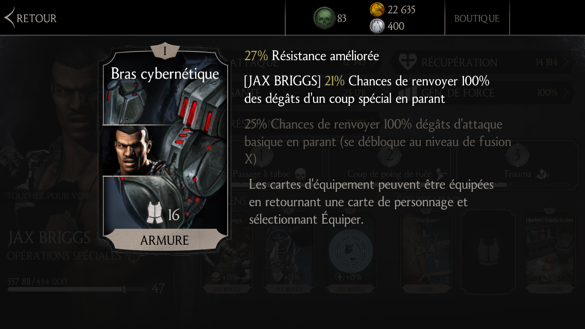Jax Briggs : Bras cybernétique