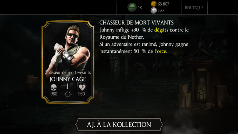 Johnny Cage Chasseur de mort-vivants