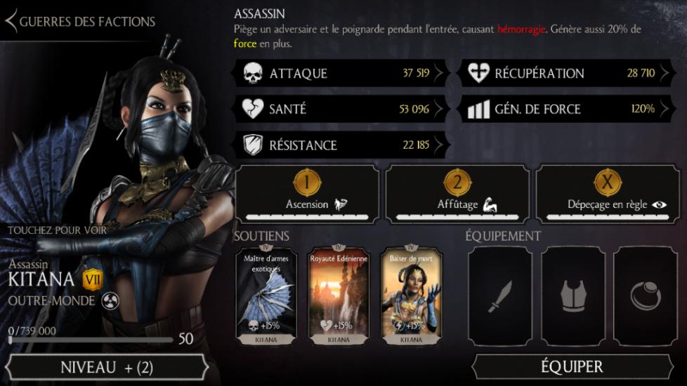 Kitana Assassin niveau 50 fusion 7