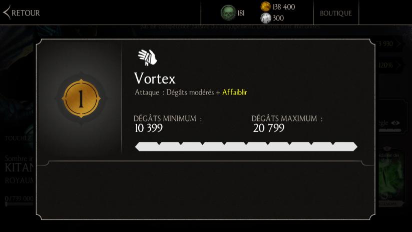 Attaque 1 de Kitana Sombre impératrice : Vortex