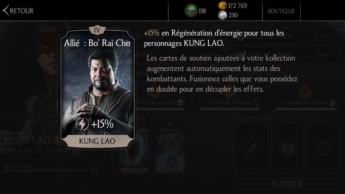 Soutien de Kung Lao en régénération d'énergie : Allié : Bo' Rai Cho