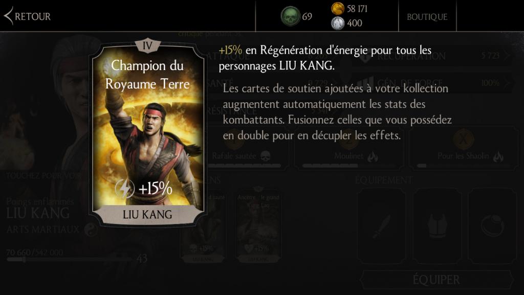 Soutien de Liu Kang Poings enflammés en régénération d'énergie : Champion du Royaume Terre