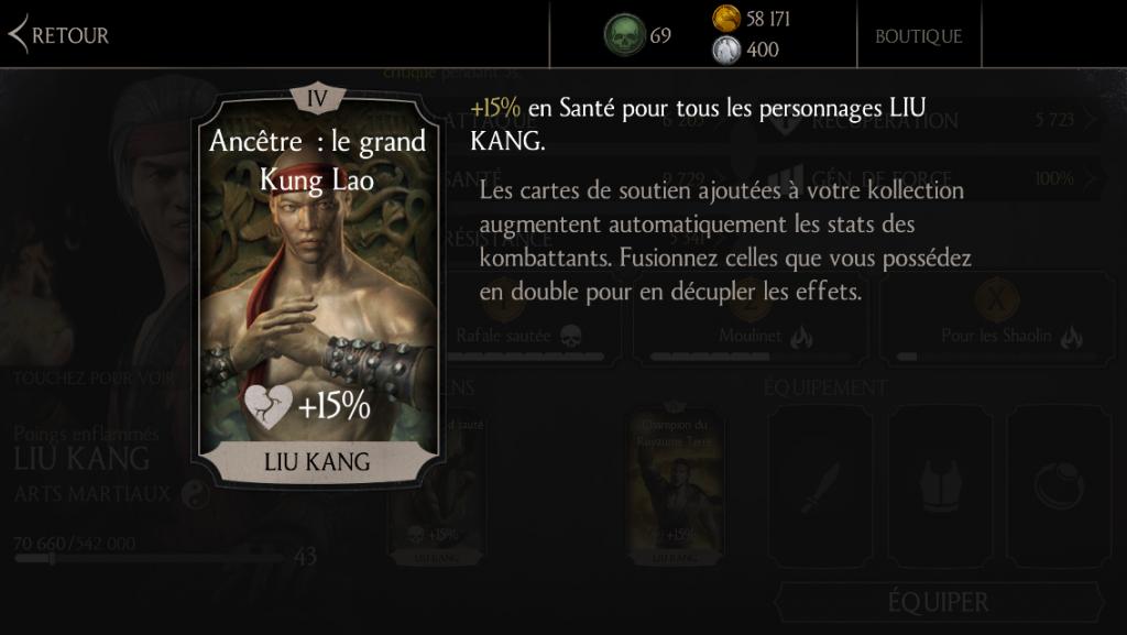 Soutien de Liu Kang Sombre empereur en santé : Ancêtre : le grand Kung Lao