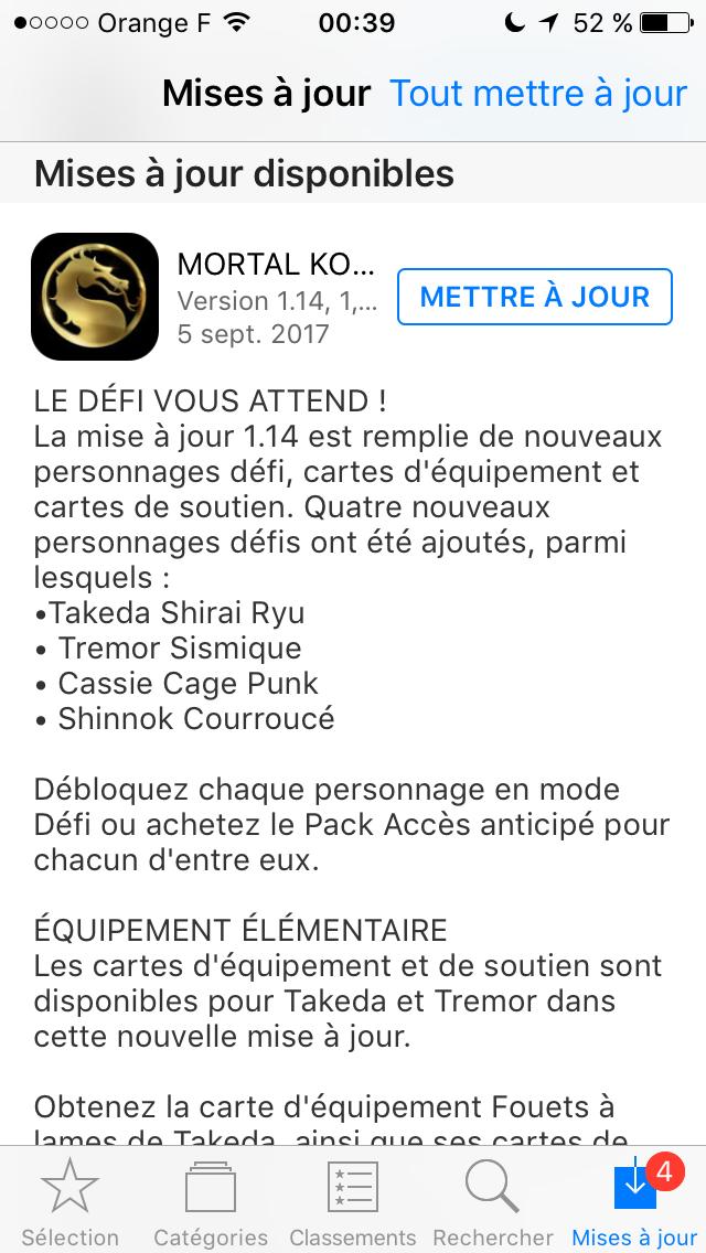 Mise à jour 1.14.0 : Takeda Shirai Ryu, Tremor Sismique, Cassie Cage Punk et Shinnok Vengeur