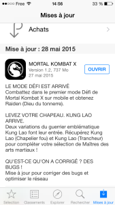 Mise à jour 1.2.0 apps iPhone Mortal Kombat X