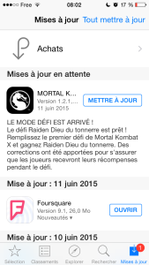 Mise à jour 1.2.1 apps iPhone Mortal Kombat X