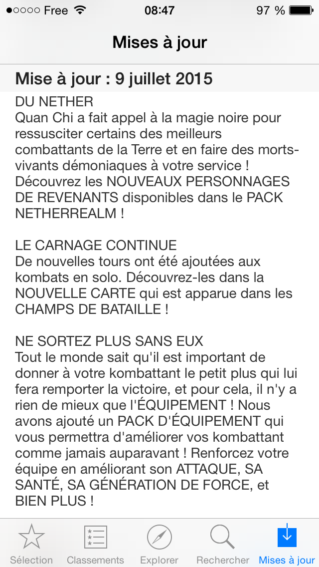 Mise à jour 1.3.0 apps iPhone Mortal Kombat X
