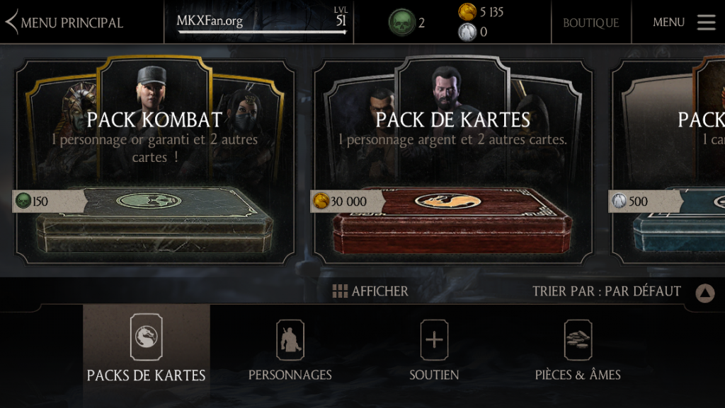 Prix revenu à la normale pour le pack Kombat