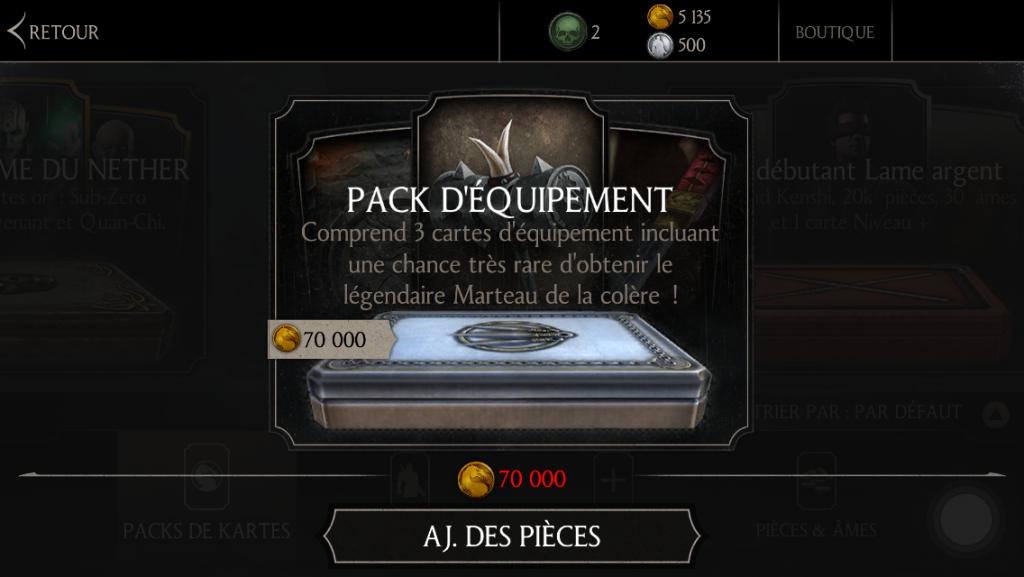 Nouveau pack d'équipement