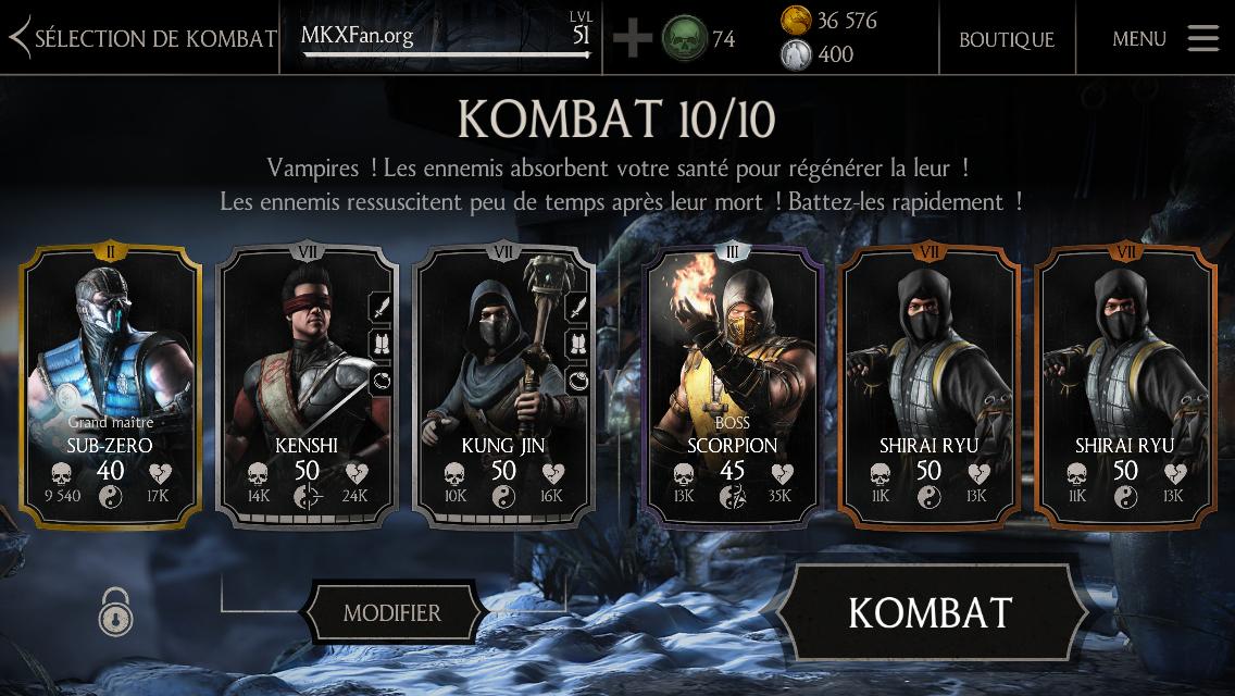 Boss Scorpion niveau 45 fusion 3