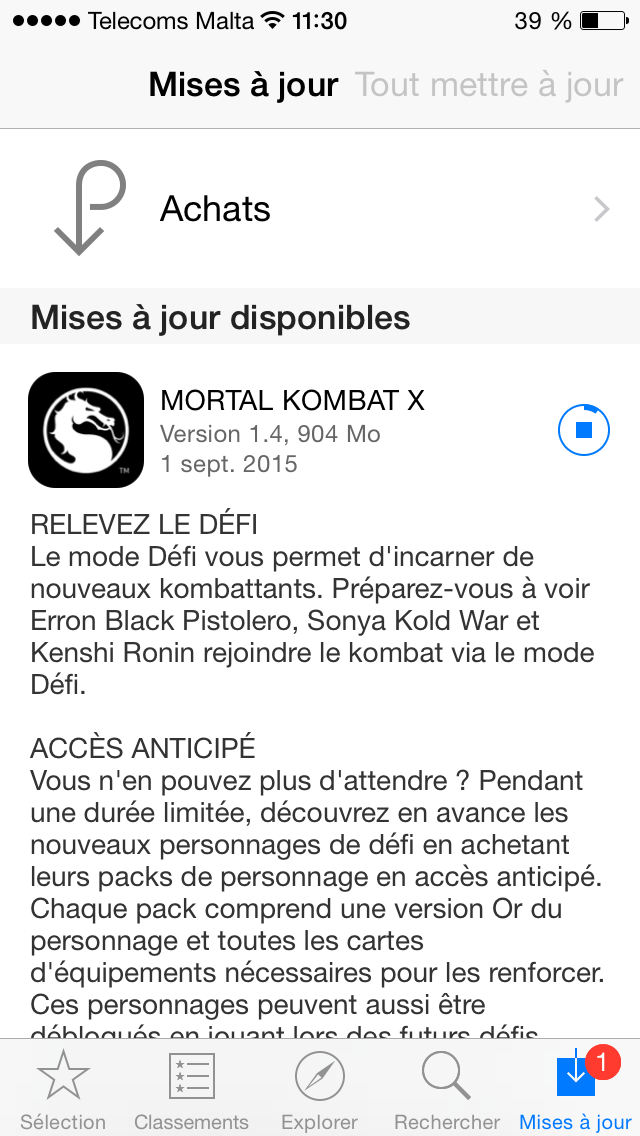 Mise à jour 1.4.0 apps iPhone Mortal Kombat X