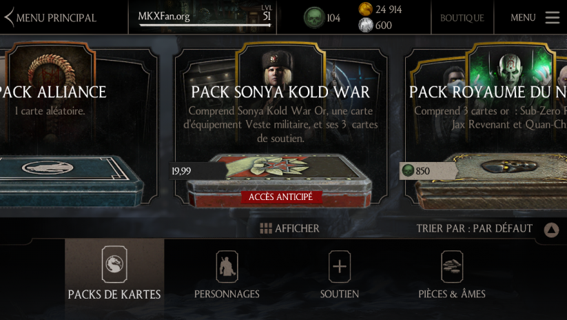 Pack Sonya Kold war dans la Boutique
