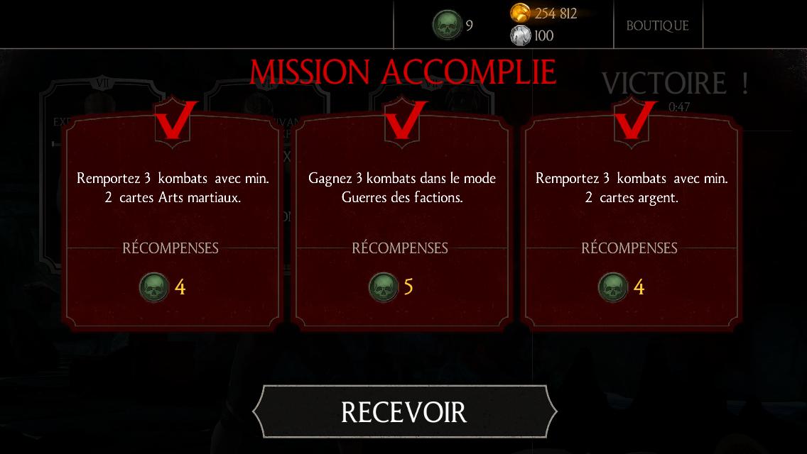 3 missions bonus accomplies en même temps