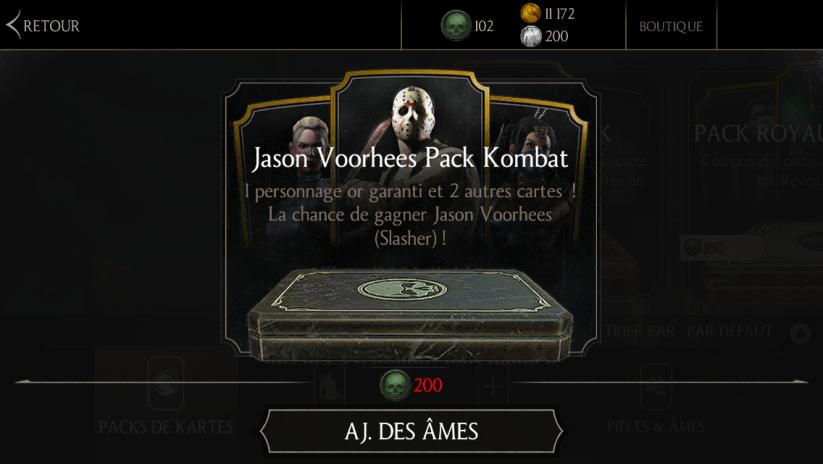 Jason Voorhees Pack Kombat : une chance de gagner le personnage or Jason