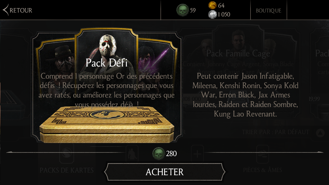 MAJ 1.7.0 : pack Défi