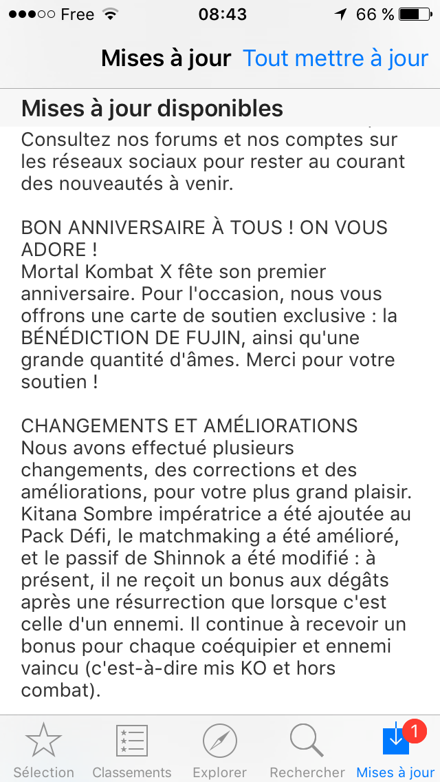 Mise à jour 1.8 de l'apps iPhone Mortal Kombat X