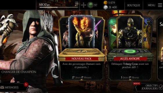 Mise à jour 1.9 : nouveaux personnages Diamant, pack Élite, Smoke, Cyrax et Sektor, nouveaux défis...