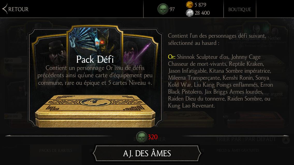 Mise à jour 1.9 : Pack Défi mis à jour