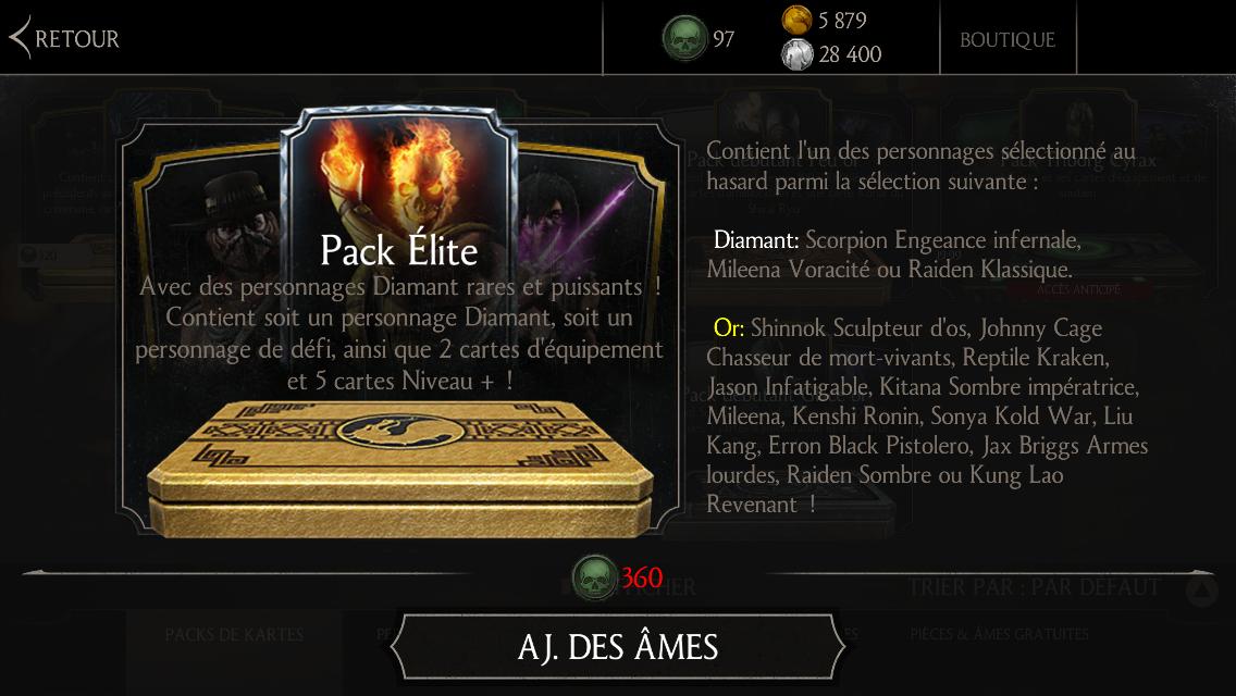 Mise à jour 1.9 : Pack Élite