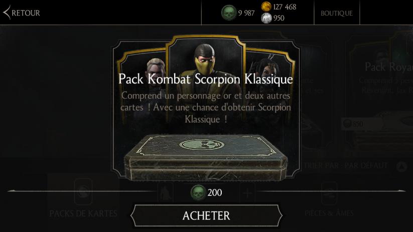 Pack Kombat Scorpion Klassique : Une chance d'avoir Scorpion Klassique pour 200 âmes