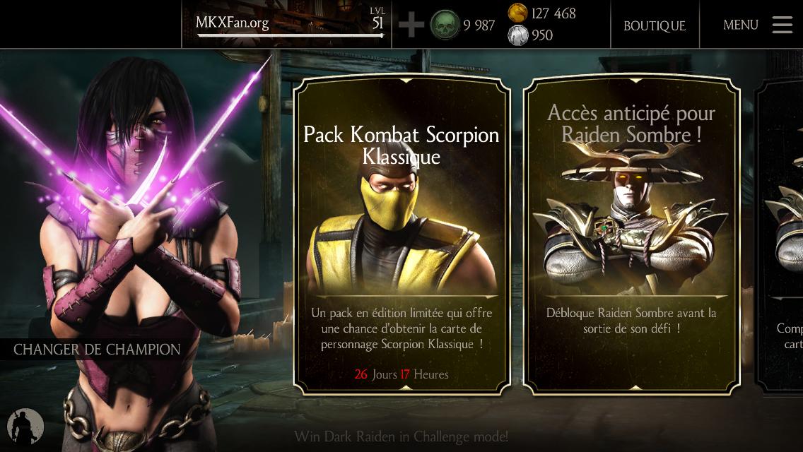 Pack Kombat Scorpion Klassique : Menu principal