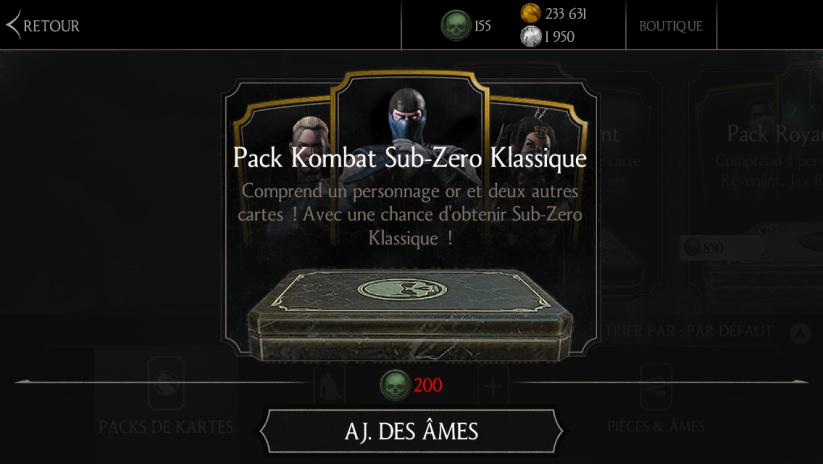 Pack Kombat Sub-Zero Klassique