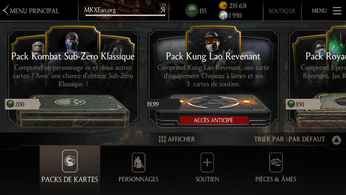 Pack Kombat Sub-Zero Klassique : Boutique