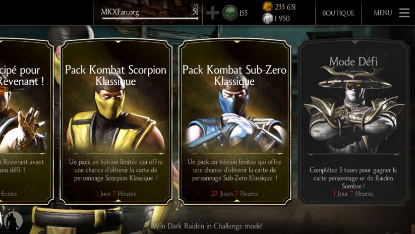 Pack Kombat Sub-Zero Klassique : Menu principal