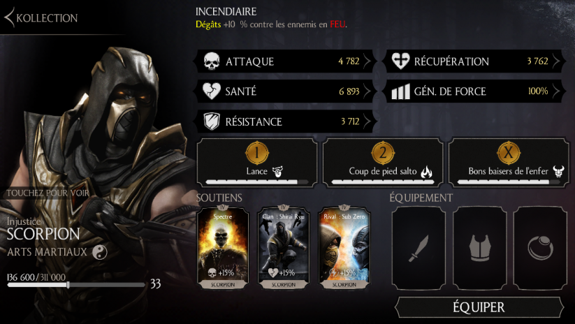 Scorpion Injustice : personnage or exclusif