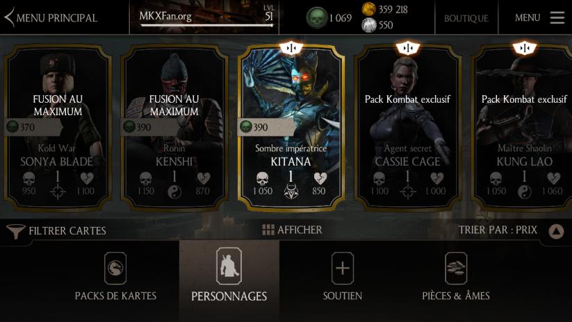 Prix du personnage or Kitana Sombre impératrice