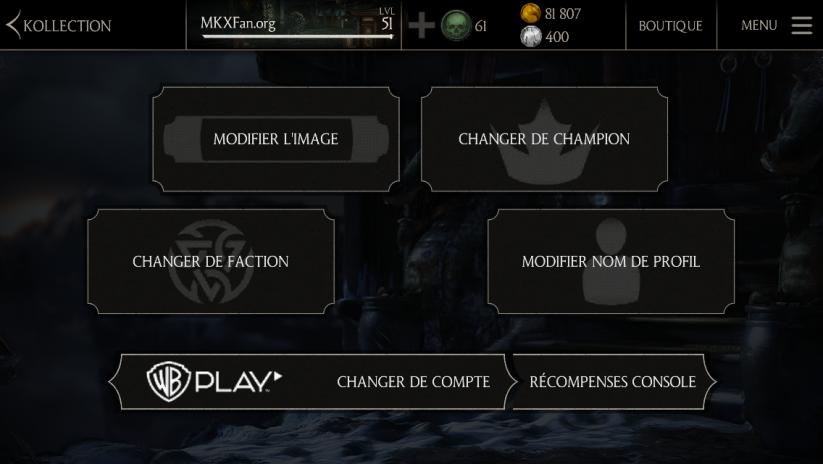 Profil sur l'apps Mortal Kombat X