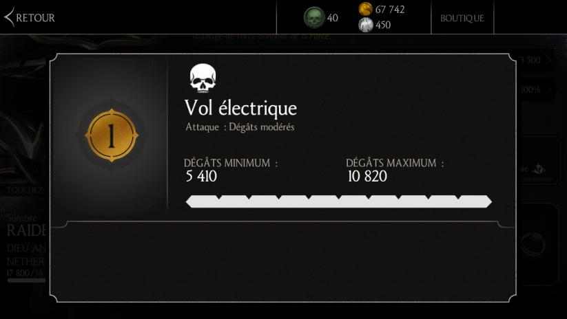 Attaque 1 de Raiden Sombre : Vol électrique