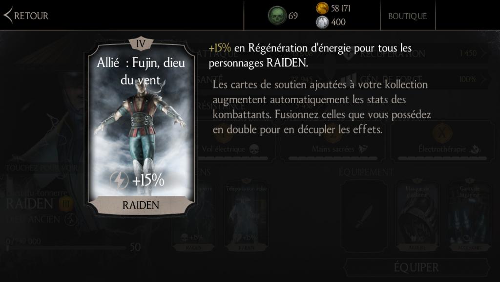 Soutien de Raiden en régénération d'énergie : Allié : Fujin, dieu du vent