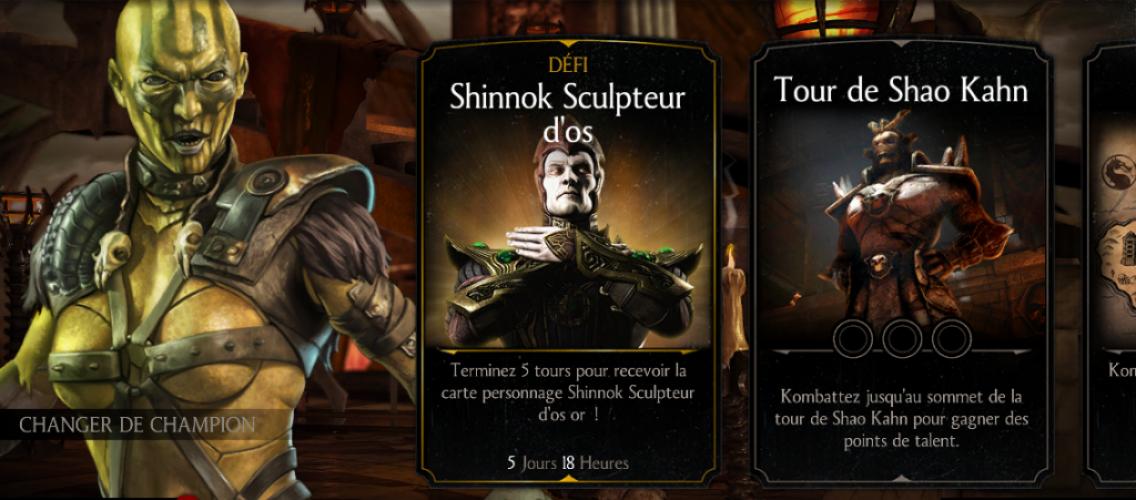Défi Shinnok Sculpteur d'os de retour, une MAJ en préparation ?