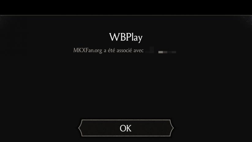 Sauvegarde WBPlay : validation de la création du compte