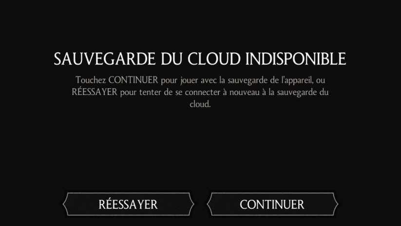 Sauvegarde WBPlay  : Sauvegarde du cloud indisponible