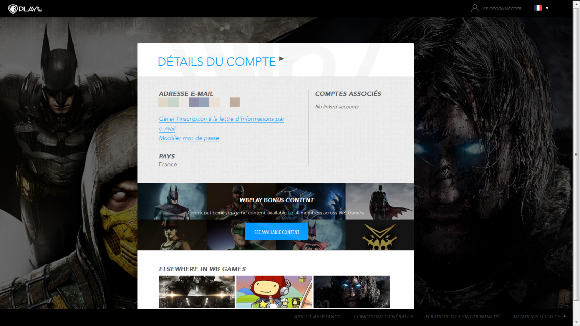 Sauvegarde WBPlay : No linked accounts sur le site WBPlay