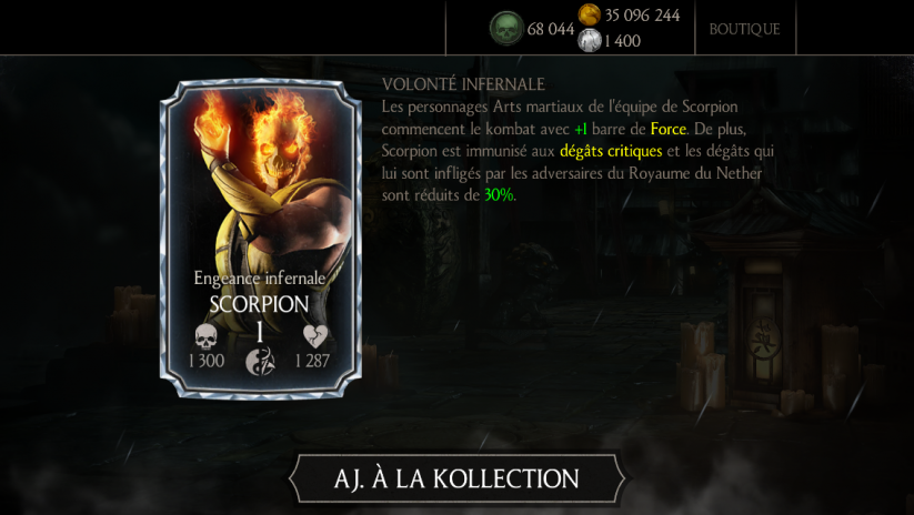 Personnage Diamant : Scorpion Engeance infernale