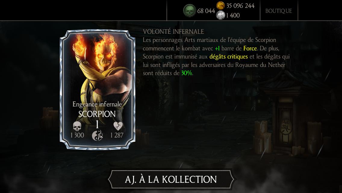 Personnage Diamant : Scorpion Engeance infernale