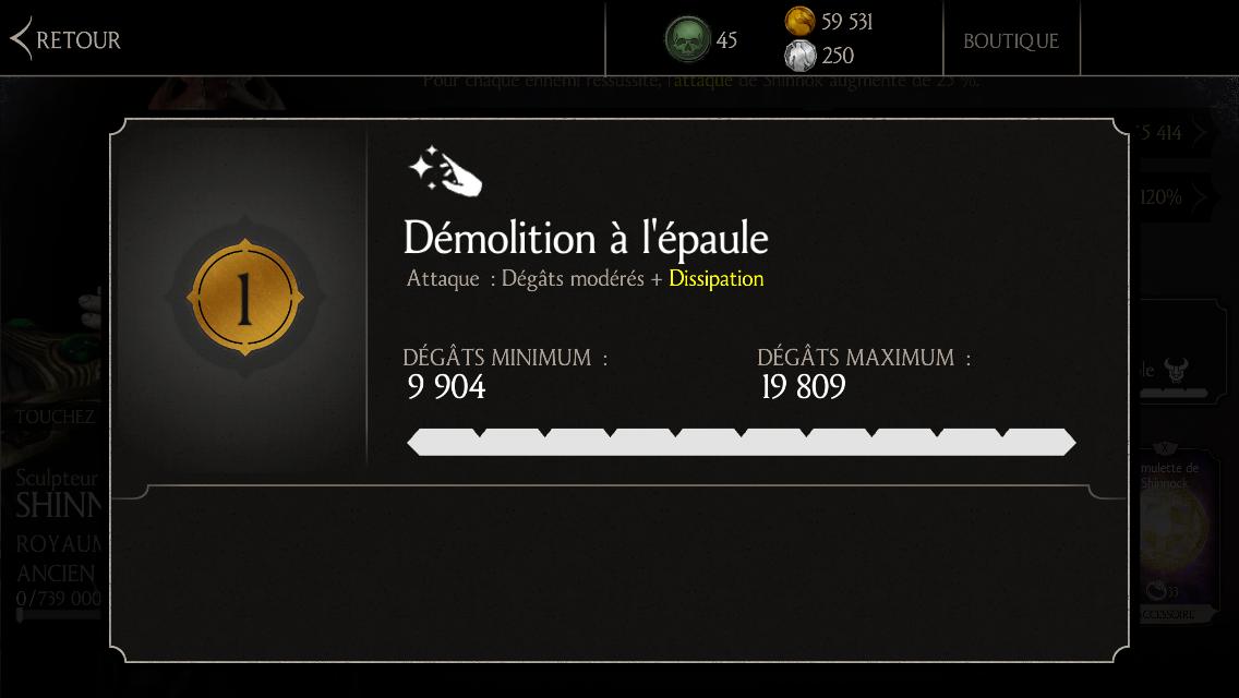Attaque 1 de Shinnok Sculpteur d'os : Démolition à l'épaule