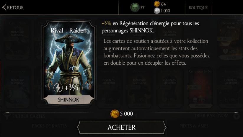 Soutien de Shinnok Sculpteur d'os en Régénération d'énergie : Rival : Raiden