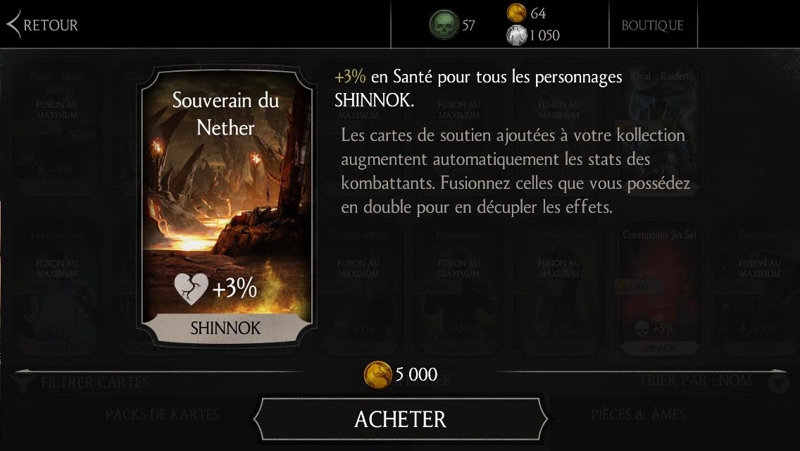 Soutien de Shinnok Sculpteur d'os en Santé : Souverain du Nether