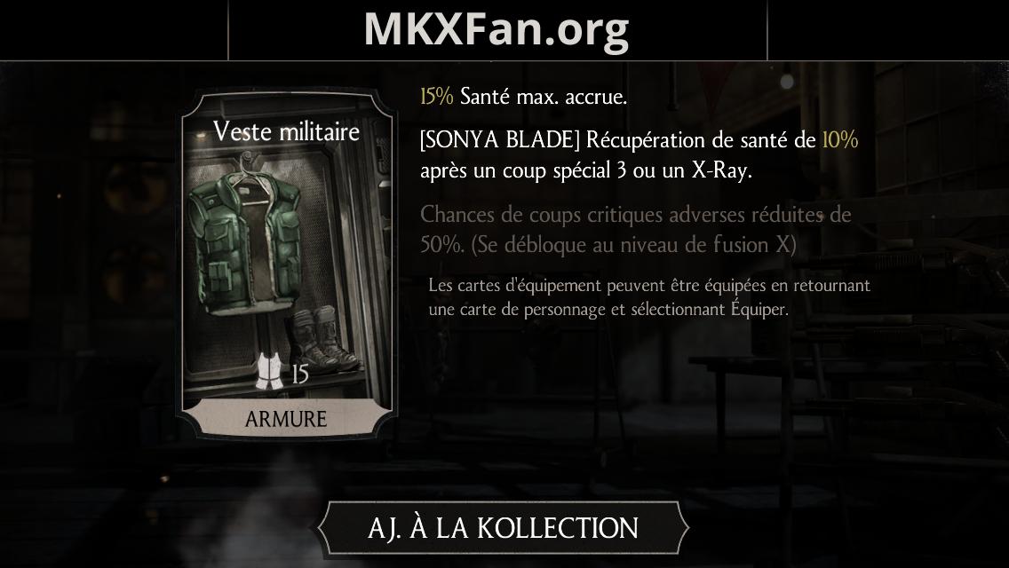 Equipement de Sonya Blade : veste militaire
