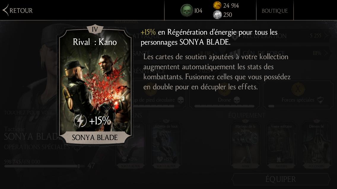 Soutien de Sonya en régénération d'énergie : Rival : Kano