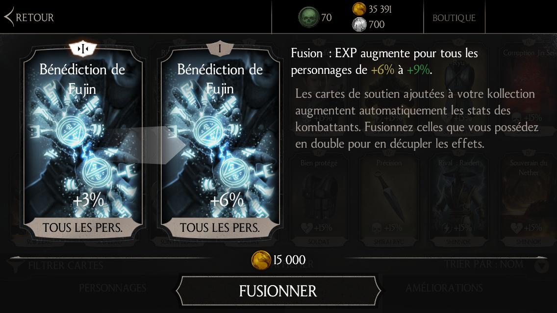Bénédiction de Fujin : Fusion