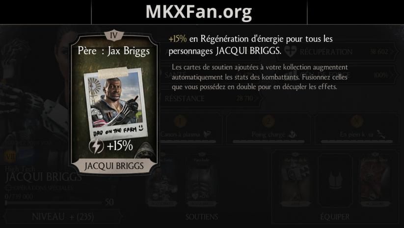 Soutien de Jacqui Briggs en régénération d'énergie : père : Jax Briggs