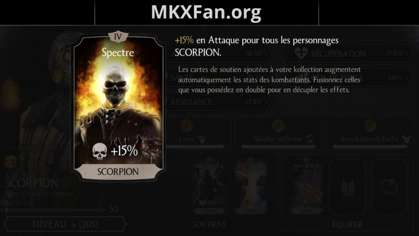 Soutien de Scorpion en attaque : spectre