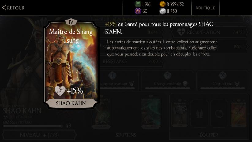 Soutien de Shao Kahn Konquérant en Santé : Maître de Shang Tsung