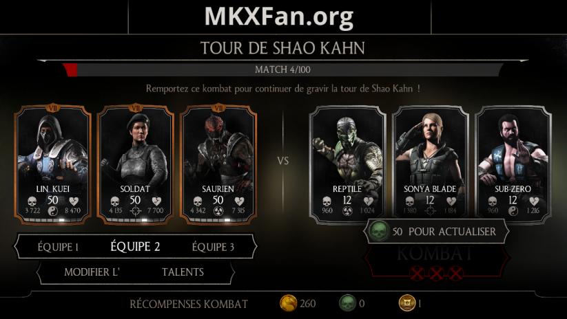 Tour de Shao Kahn : actualisation 50 âmes