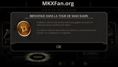 Tour de Shao Kahn et points de talents